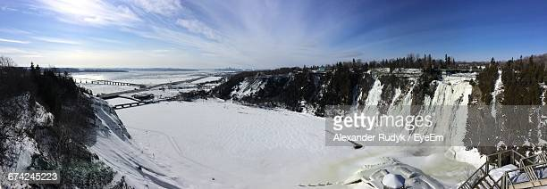 high angle view of snow covered river - lévis quebec stock pictures, royalty-free photos & images