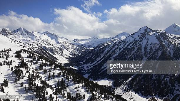 High Angle View Of Snow Covered Rocky Mountains