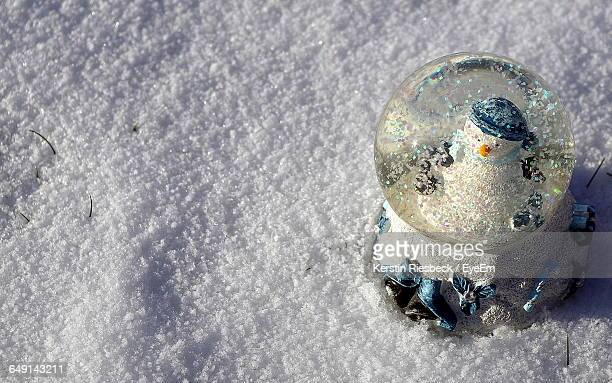 High Angle View Of Snow Globe On Snowy Field