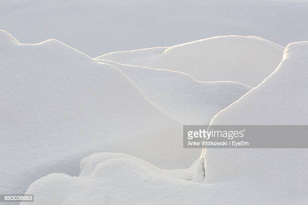 High Angle View Of Snowcapped Field During Winter