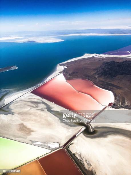 high angle view of snowcapped mountain against sky - great salt lake stock pictures, royalty-free photos & images