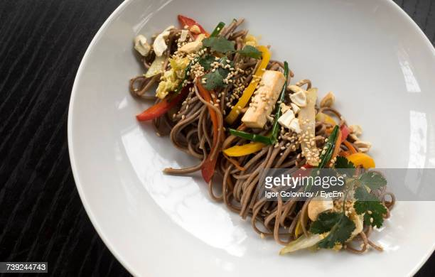 High Angle View Of Soba Served In Plate On Table