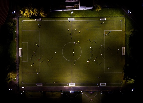 High Angle View Of Soccer Field At Night - gettyimageskorea