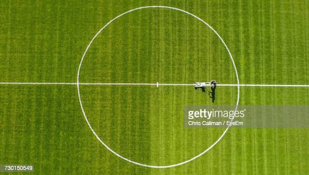 high angle view of soccer field - football pitch stock pictures, royalty-free photos & images