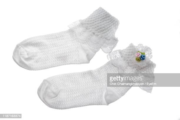 high angle view of socks against white background - レース生地 ストックフォトと画像