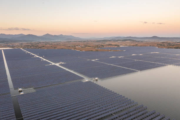 High angle view of solar power station on the lake