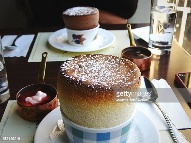 High Angle View Of Souffle In Bowl On Table