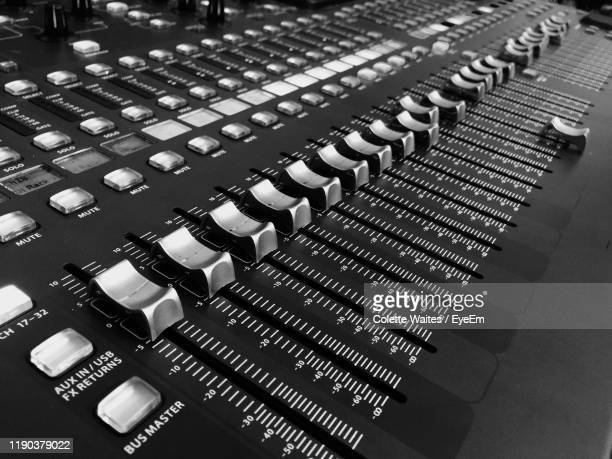 high angle view of sound mixer - equaliser stock pictures, royalty-free photos & images