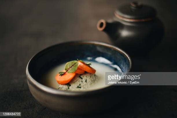 high angle view of soup in  bowl on table - jelena ivkovic stock pictures, royalty-free photos & images