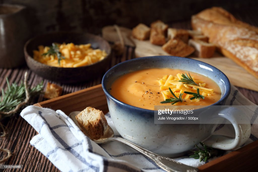 High angle view of soup in bowl on table : Stock Photo