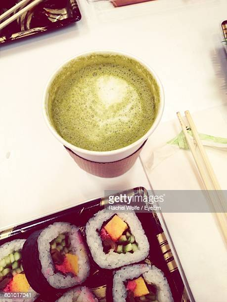 high angle view of soup with sushi served on table - rachel wolfe stock pictures, royalty-free photos & images