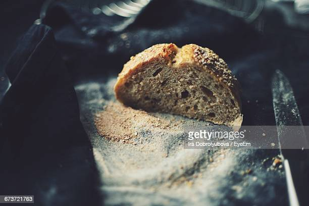 High Angle View Of Sourdough Bread On Table