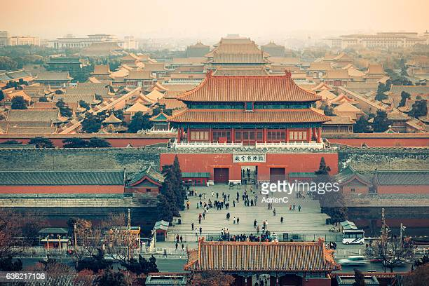 High angle view of south gate of Forbidden city from Jingshan Park
