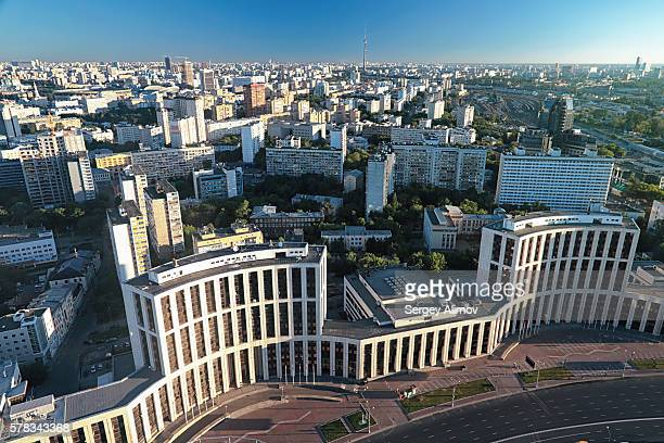 high angle view of soviet architecture in moscow - geometrical architecture stock photos and pictures