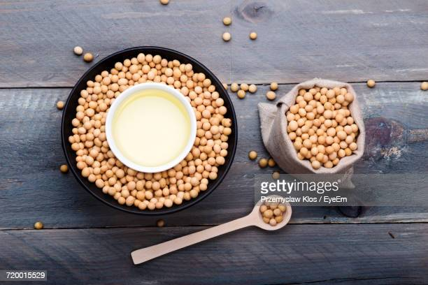 High Angle View Of Soy Beans And Oil