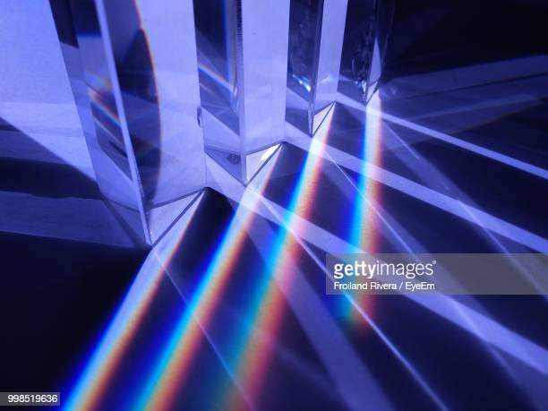 high angle view of spectrum reflecting on floor - spiegelung stock-fotos und bilder