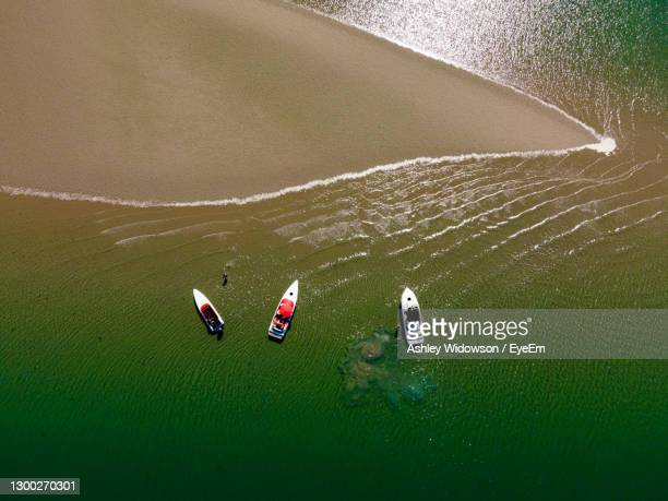 high angle view of speedboats - portsmouth england stock pictures, royalty-free photos & images