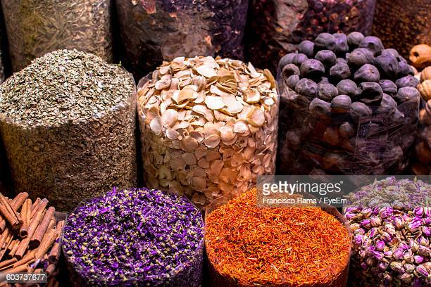 High Angle View Of Spices For Sale At Market