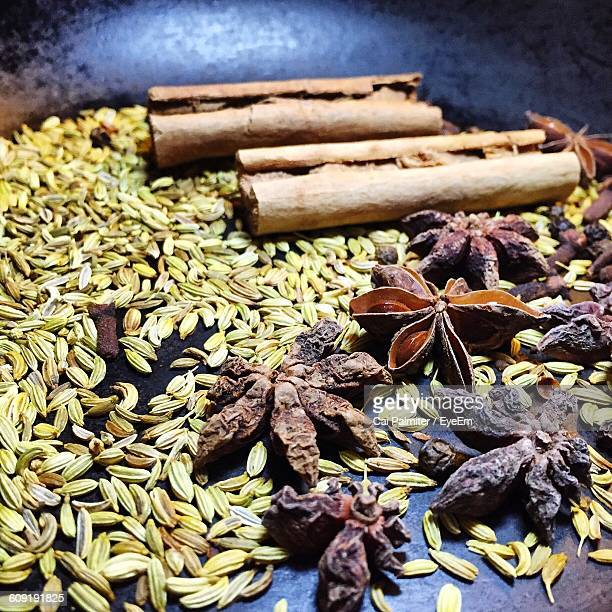 high angle view of spices in plate - kitty hawk stock pictures, royalty-free photos & images