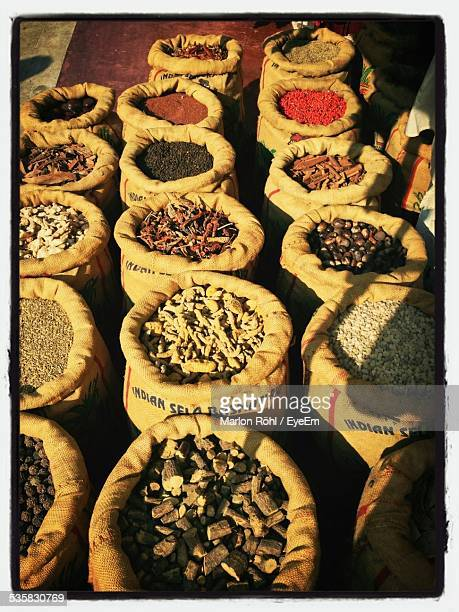 High Angle View Of Spices In Sack For Sale In Market