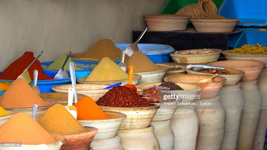 High Angle View Of Spices In Store : Stock Photo