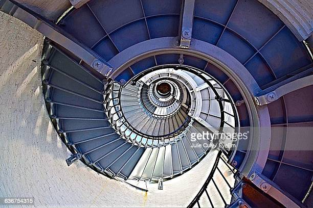 high angle view of spiral staircase in building - julie culy stock pictures, royalty-free photos & images
