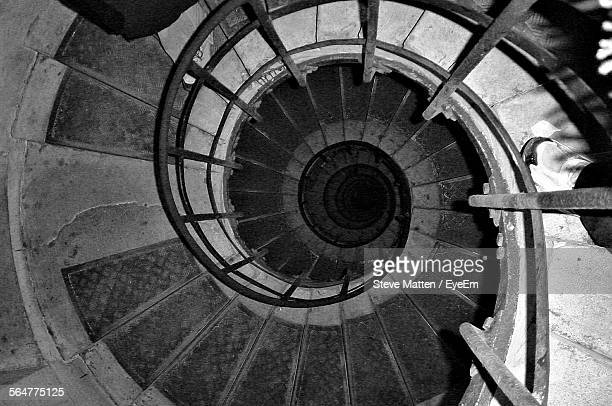 high angle view of spiral stairs - steve matten stock pictures, royalty-free photos & images