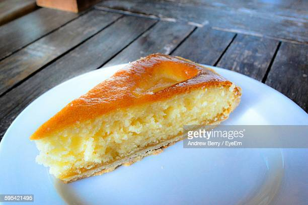 High Angle View Of Sponge Cake In Plate On Table