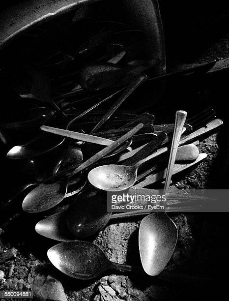 High Angle View Of Spoons On Ground