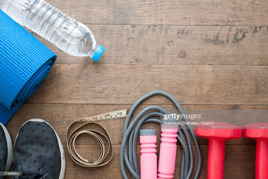 High Angle View Of Sports Equipment : Stock Photo