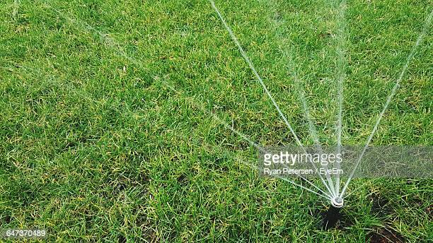 High Angle View Of Sprinkler On Grassy Field