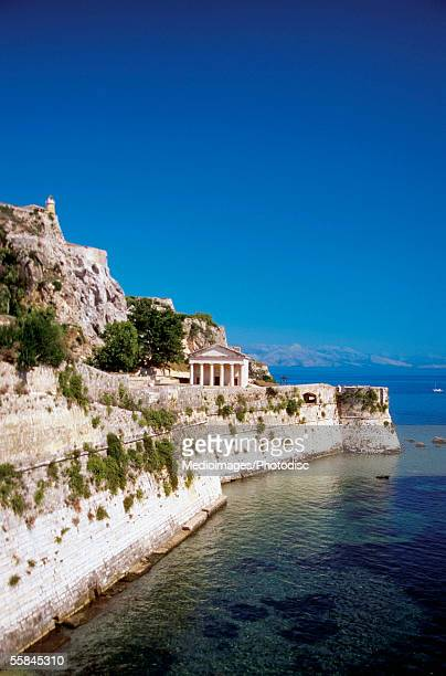 high angle view of st. george church, corfu, greece - corfu stock pictures, royalty-free photos & images