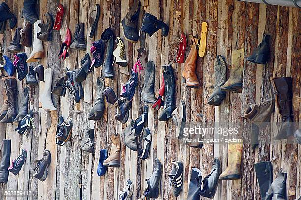 High Angle View Of Staircase Full Of Shoes