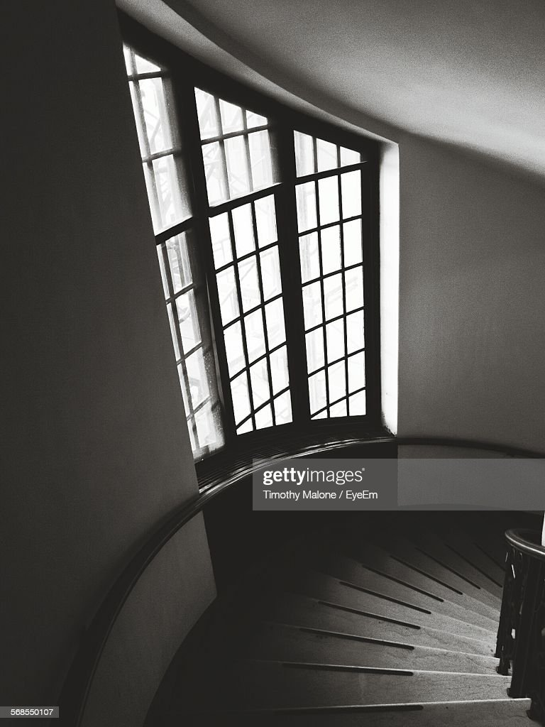 High Angle View Of Staircase In Building : Stock Photo