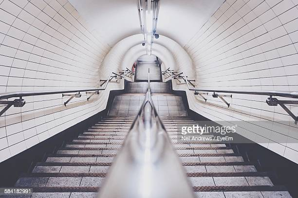 High Angle View Of Staircase In Subway Station