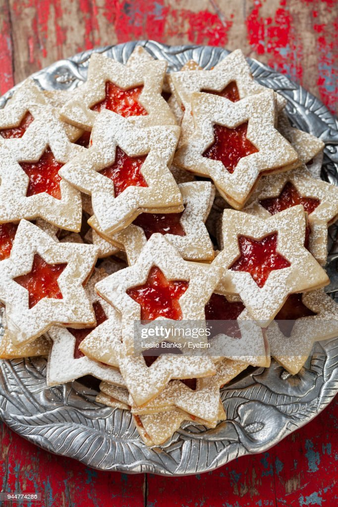 High Angle View Of Star Shape Cookies In Plate On Table : Stock Photo