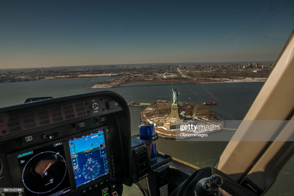 High angle view of Statue Of Liberty from helicopter : Stock Photo