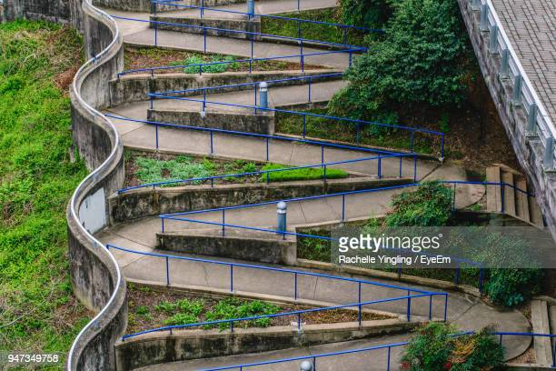 high angle view of steps against trees - chattanooga stock pictures, royalty-free photos & images