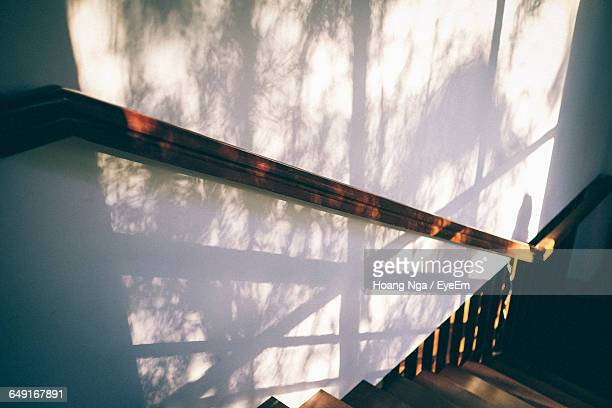 High Angle View Of Steps At Home During Sunset