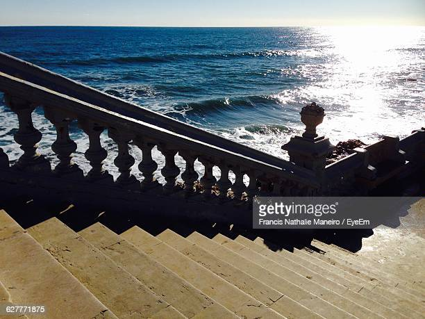 High Angle View Of Steps By Sea