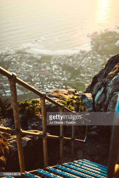 High Angle View Of Steps On Cliff