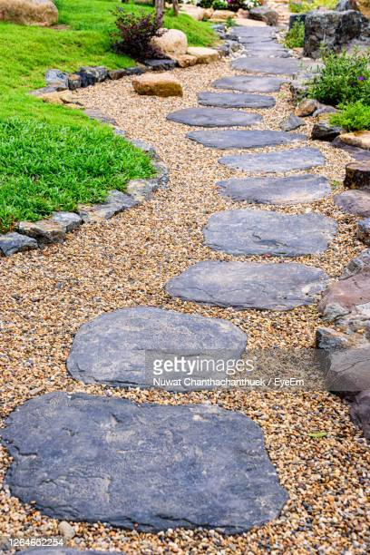 high angle view of stone footpath - pebble stock pictures, royalty-free photos & images