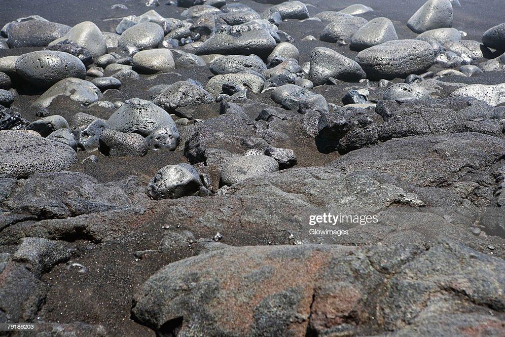 High angle view of stones, Kalapana, Big Island, Hawaii Islands, USA : Foto de stock