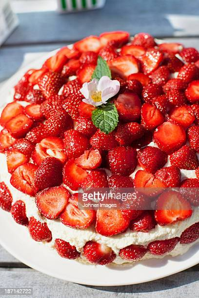 High angle view of strawberries cake