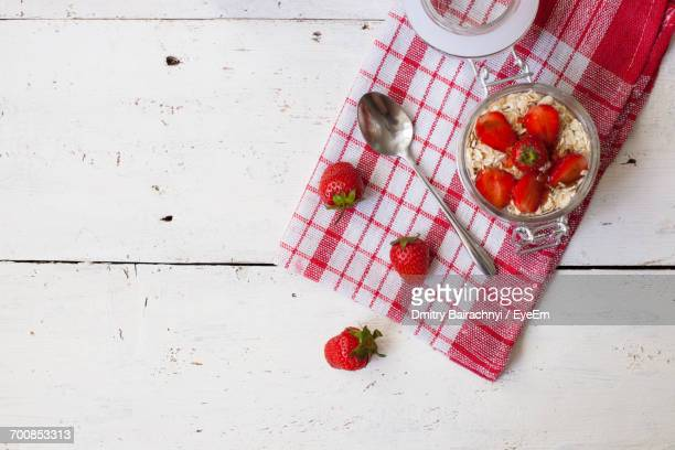 High Angle View Of Strawberry Dessert
