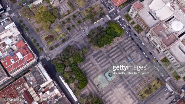 high angle view of street amidst buildings in city - guatemala city stock pictures, royalty-free photos & images