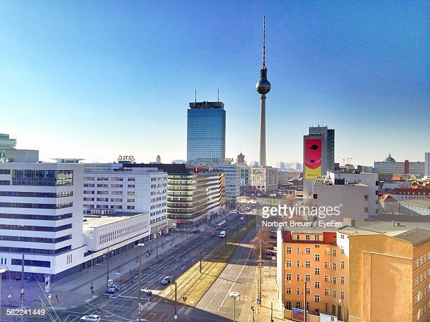 High Angle View Of Street By Buildings And Fernsehturm Against Sky