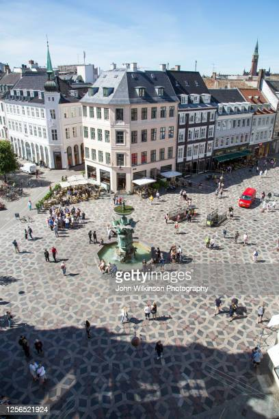high angle view of strøget in copenhagen - copenhagen stock pictures, royalty-free photos & images