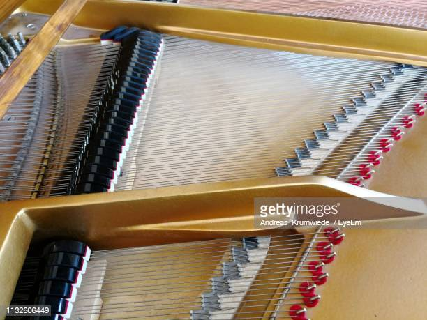 High Angle View Of Strings Of Grand Piano