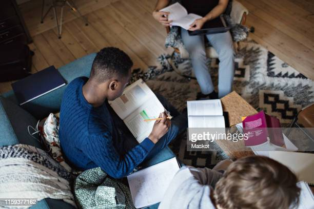 high angle view of studious male friends studying while sitting in living room at home - home schooling stock pictures, royalty-free photos & images